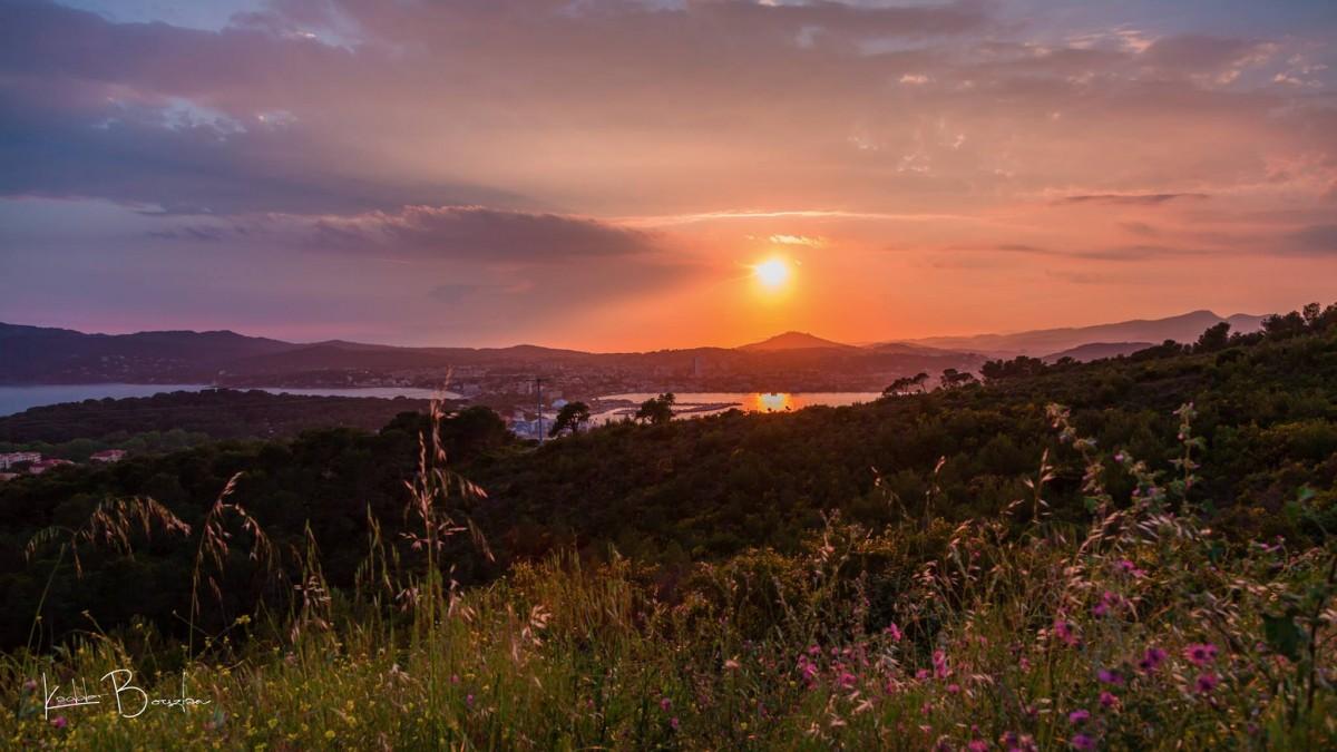 Vue Ponts de vue, Sablettes, Saint Mandrier, Route de la renardière, mer, coucher de soleil