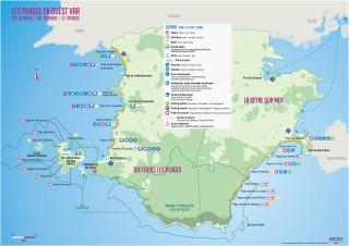 Carte des plages de Six Fours et La Seyne