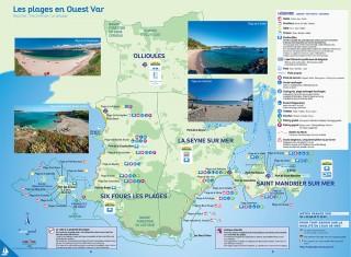 Carte des plages de Six Fours, La Seyne et Saint Mandrier