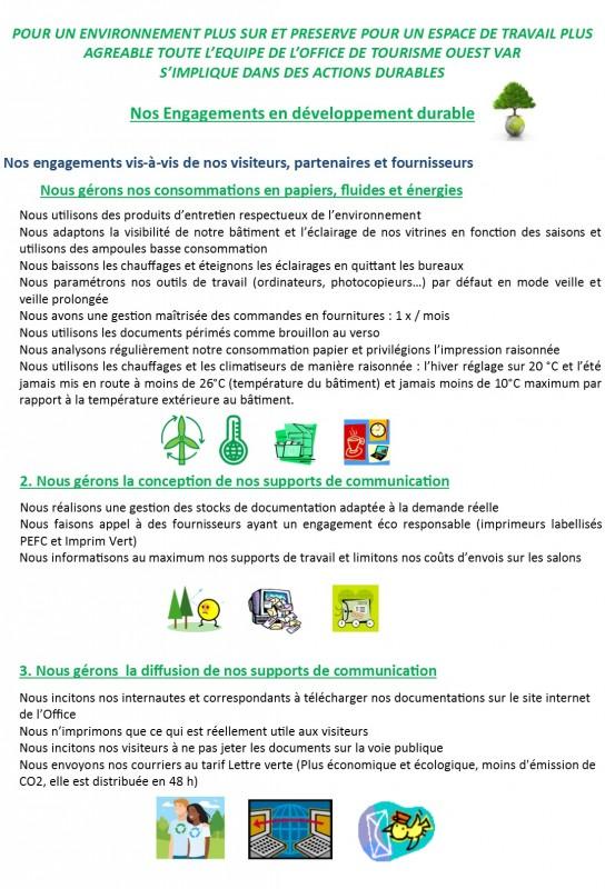 les engagements de l'Office de Tourisme en développement durable