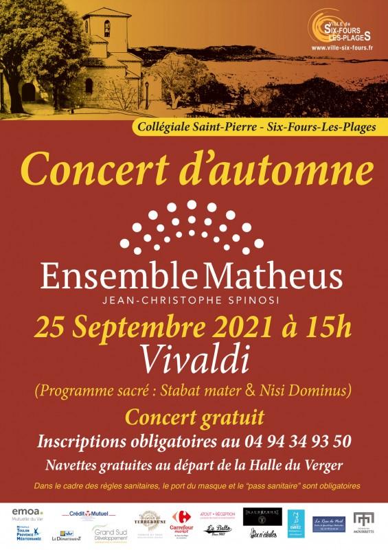 Agenda concert ensemble Matheus Six Fours les Plages