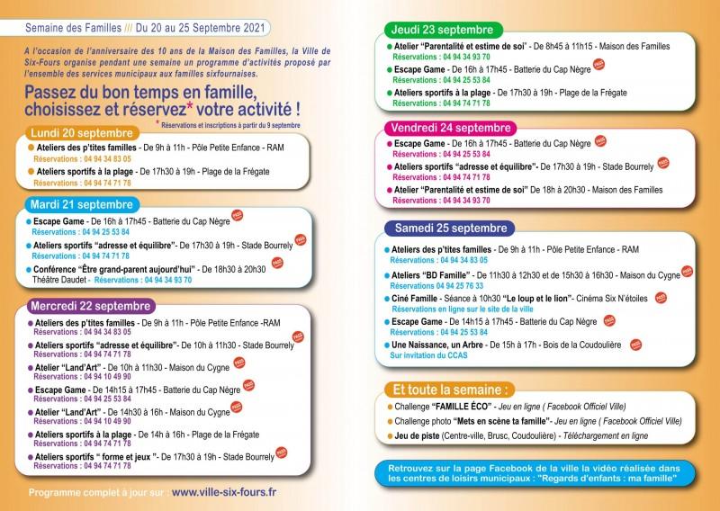 Programme la semaine des Familles Six Fours