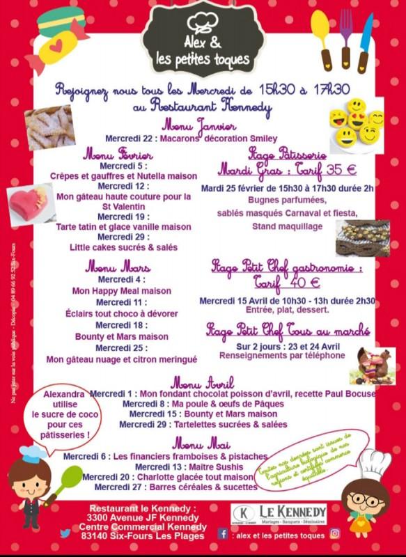 Programme cours de cuisine enfants de février à mai 2020