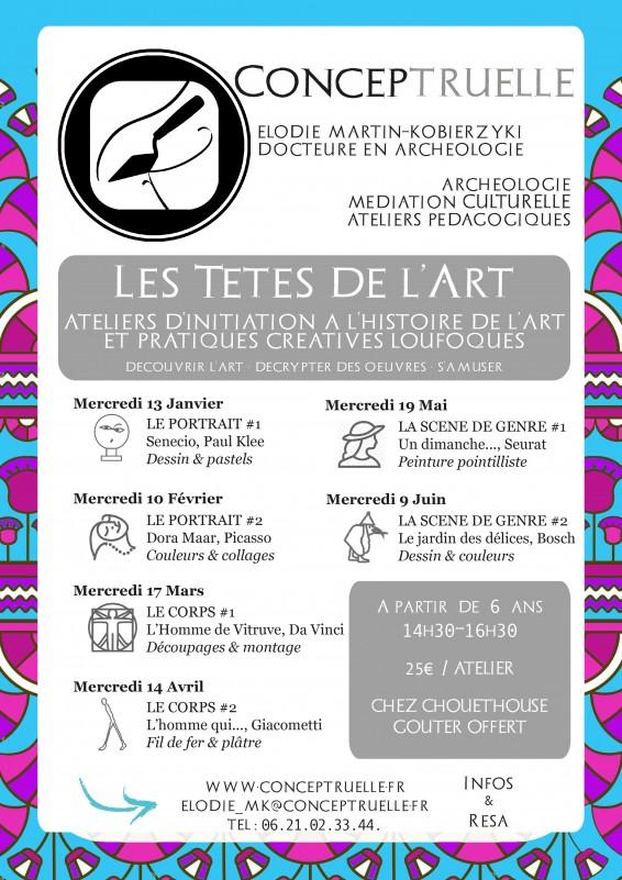 Les Têtes de l'Art : ateliers d'initiation à l'histoire de l'art et pratique créatives loufoques